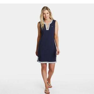 Nautica Womens Palmetto Split-Neck Sheath Dress L